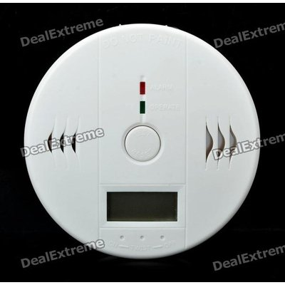 Security Carbon Monoxide Sensor Alarm With LED Indicator Light - White