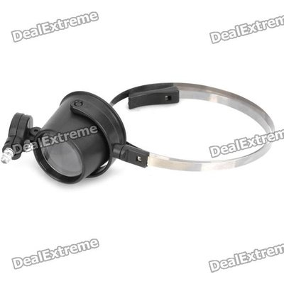 15X Eye-Clamp-Free LED Clock Repair Loupe Magnifier (CR1620)
