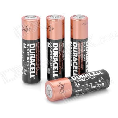 Duracell Replacement 1.5V Alkaline AA Battery - Black + Golden (4 PCS)