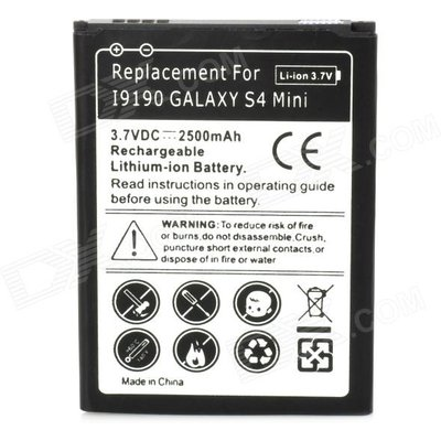 3.7V 2500mAh Battery for Samsung Galaxy S4 Mini + More - Black + White