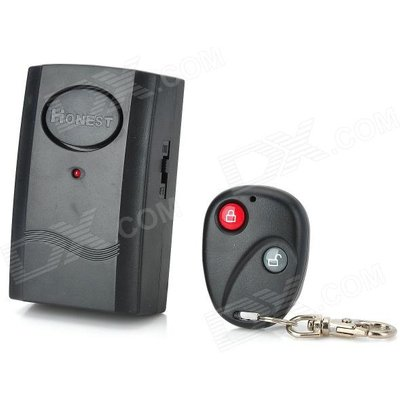 Honest Vibration Activated 120dB Security Alarm w/ RC Keychain - Black