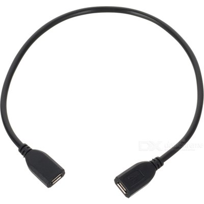 Micro USB Female to Female Extension Cable - Black (30cm)
