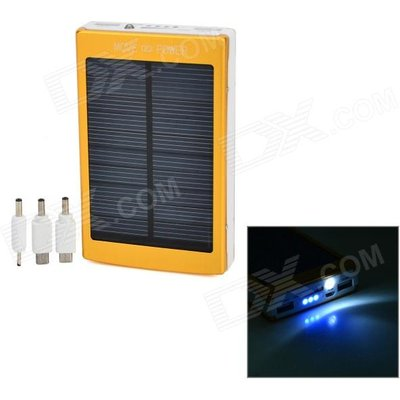 Portable Dual-USB Solar 30000mAh Power Bank w/ LED Flashlight - Golden + White