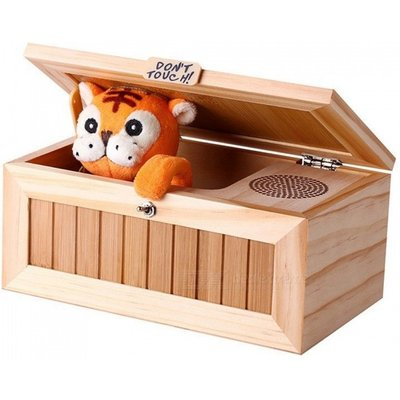 20-Mode Stress-Reduction Don't Touch Toy Cute Tiger Wooden Useless Box w/ Voice for Kids