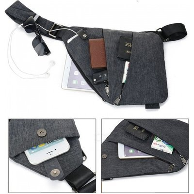 Men's Ultra-thin Sling Chest Bag£¬ Security Storage Bag - Dark Grey
