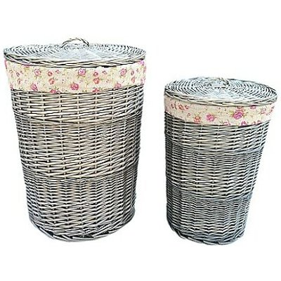 2 Piece Laundy Wicker Laundry Basket with Garden Rose Lining