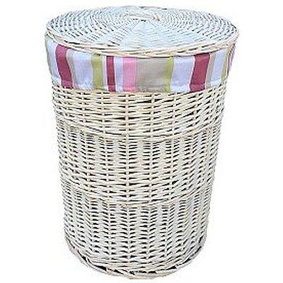 Wicker Laundry Bin with Striped Lining
