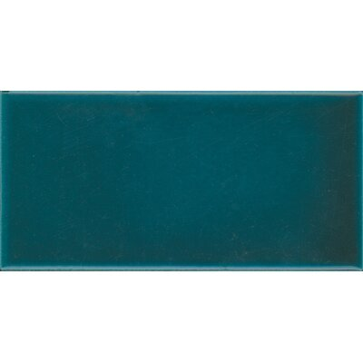 Victoria and Albert Puddle Glaze 7.6 x 15.2cm Ceramic Field Tile in Glossy Pe.