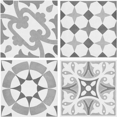 12 Piece Parian Decors Multi Use 14.2 x 14.2cm Porcelain Patterned Tile in Ma.