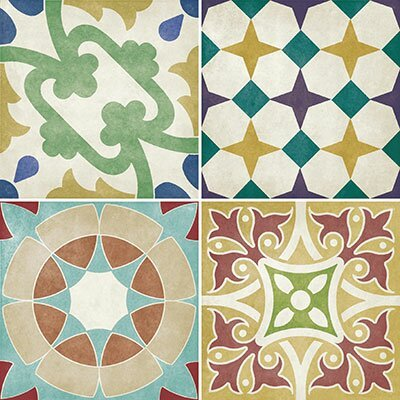 12 Piece Parian Decors Multi Use 14.2 x 14.2cm Ceramic Patterned Tile in Matt.