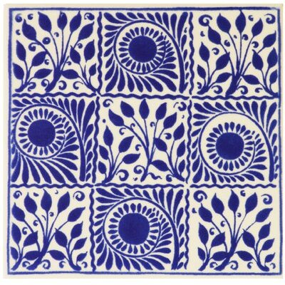 Victoria and Albert 9 Square Cobalt Décor 15.2 x 15.2cm Ceramic Patterned Til.