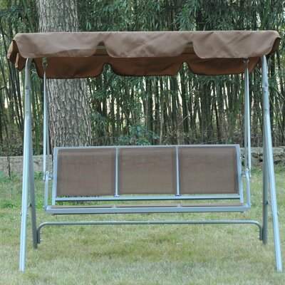 Metal Swing Seat with Stand, black,brown