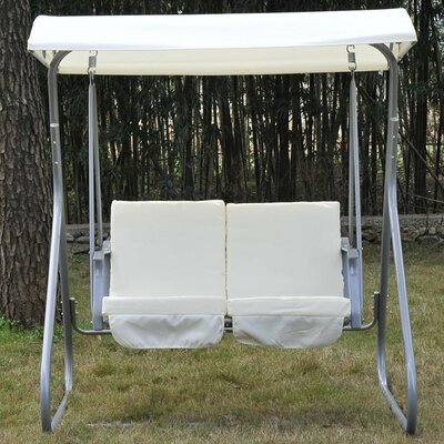 2 Seater Swing Seat with Stand, White,Gray