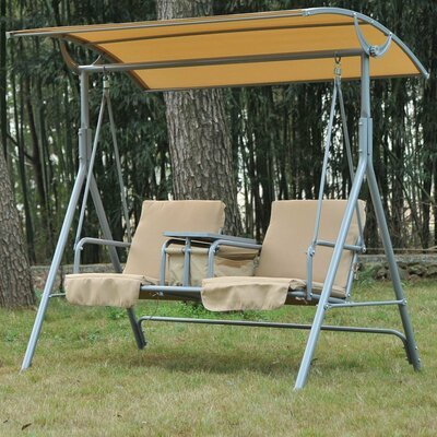 Canopy Swing Seat with Cushions, Brown,Gray
