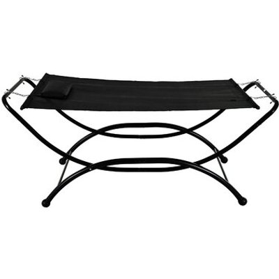 Heavy Duty Polyester Hammock with Stand, Black