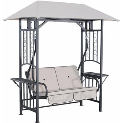 2 Seater Garden Swing Seat with Stand, Black,Gray