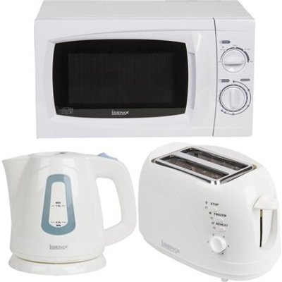 20L 700W Countertop Microwave with Kettle and 2 Slice Toaster in White - 5057255268643