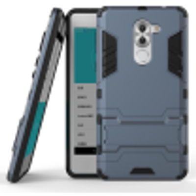 Dark blue Slim Robot Armor Kickstand Shockproof Hard Rugged Rubber Back Case For HUAWEI Honor 6X