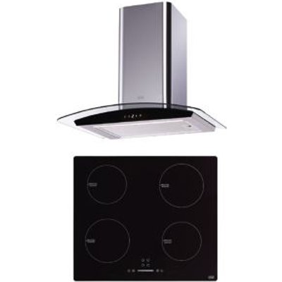 Cooke & Lewis LinkTech 4 Zone Black & Silver Glass & stainless steel Induction Hob