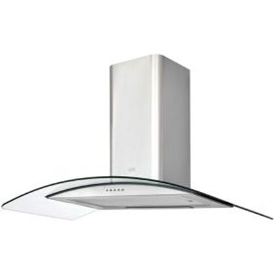 3663602842613 | Cooke   Lewis CLCGS90 Inox Stainless Steel Curved Glass Cooker Hood   W  900mm