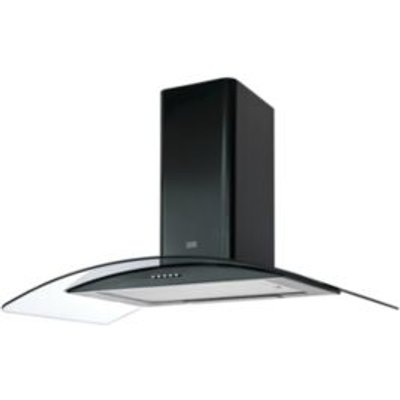3663602842620 | Cooke   Lewis CLCGB90 Black Steel Curved Glass Cooker Hood   W  900mm