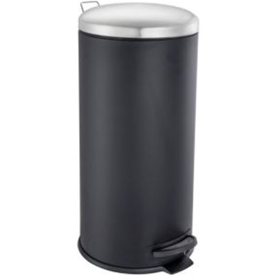 5052931603213 | Cooke   Lewis Abora Soft Close Matt Black Iron Round Pedal Bin  30L
