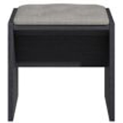 Hektor Black   Soft Grey Dressing Table Stool  H 450mm  W 450mm - 5055854514529