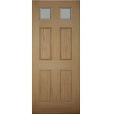 5397007097580 | Henley 6 Panel White Oak Veneer Glazed Front Door   H 1981mm  W 838mm