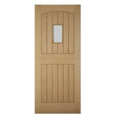 5397007097689 | Cottage Stable Panelled White Oak Veneer Glazed Front Door   H 1981mm  W 762mm