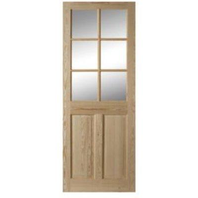 5397007100006 | 6 Panel Clear Pine Glazed Internal Door   H 1981mm  W 762mm