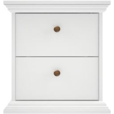 Isabella White 2 Drawer Bedside Chest  H 482mm  W 458mm - 5706887973912