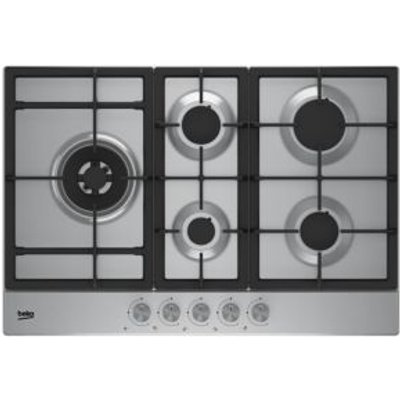 Beko HQAW 75225 SX 5 Burner Grey Stainless Steel Gas Hob - 8690842130915