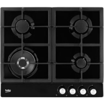 Beko HQAW 64225 SB 4 Burner Black Stainless Steel Gas Hob - 8690842131158