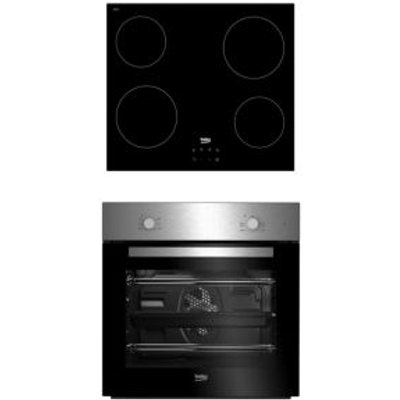 Beko QSE222X Black Single Multifunction Oven   Ceramic Hob Pack - 8690842137877