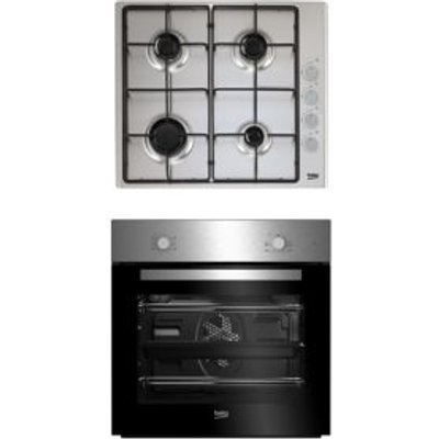 Beko QSE223SX Black   Stainless Steel Single Multifunction Oven   Gas Hob Pack - 8690842137884
