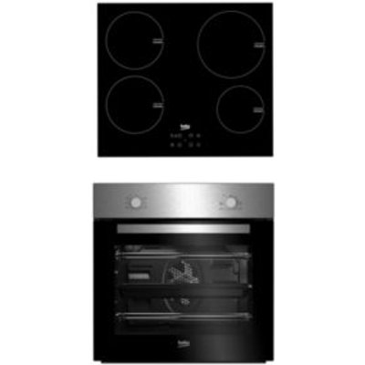 Beko QSE224X Black   Stainless Steel Single Multifunction Oven   Induction Hob Pack - 8690842137891
