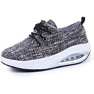 Women's Athletic Shoes Comfort Spring Fall Fabric Walking Shoes Casual Outdoor Lace-up Platform Gray