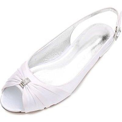 Women's Wedding Shoes Comfort Ballerina Spring Summer Satin Wedding Party  Evening Dress Rhinestone