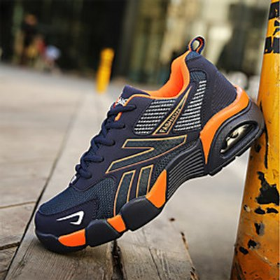 Men's Shoes Tulle Fall Winter Comfort Athletic Shoes Running Shoes Lace-up For Athletic Orange Dark