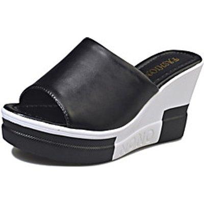 Women's Shoes PU Spring Summer Slingback Sandals Wedge Heel Open Toe Split Joint For Dress Black Whi