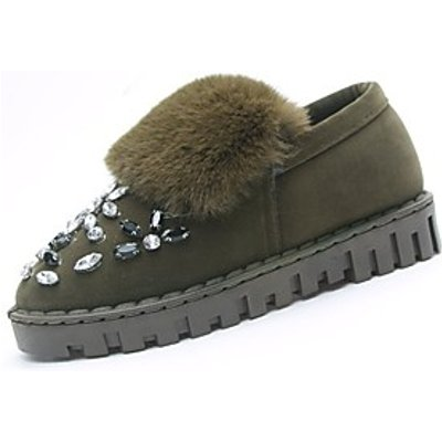 Women's Shoes Rubber Winter Comfort Loafers  Slip-Ons Round Toe For Outdoor Green Gray Black