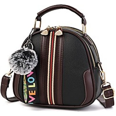 Women Bags All Season PU Shoulder Bag Embroidery Feathers / Fur Flower(s) for Red Blushing Pink Gray