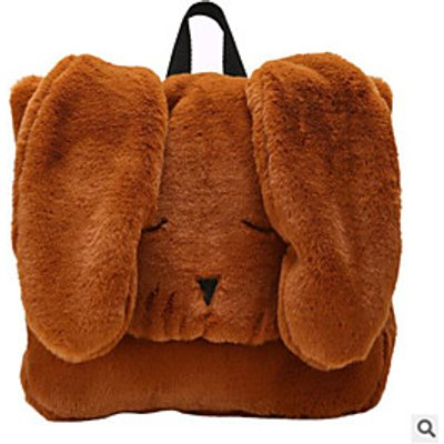 Women Bags All Season Fur Backpack Feathers / Fur for Casual Brown