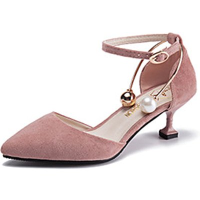 Women's Shoes PU Summer Fall Comfort Heels Pointed Toe Pearl Buckle For Casual Office  Career Pink G