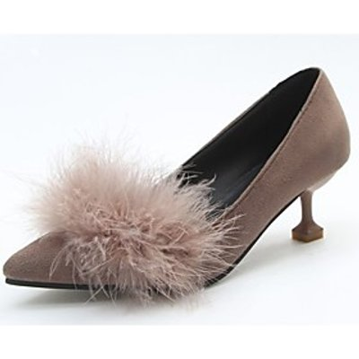 Women's Shoes Cashmere Fall Comfort Heels Pointed Toe Feather For Casual Khaki Yellow Gray Black