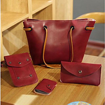 Women Bags All Season PU Bag Set 4 Pieces Purse Set Zipper for Casual Black Gray Dark Brown Wine