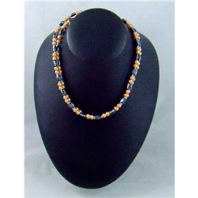 Magnetic necklace of black and orange beads