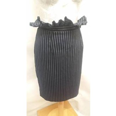 UNIQUE 21 - Size: 8 - navy and white striped knee length skirt