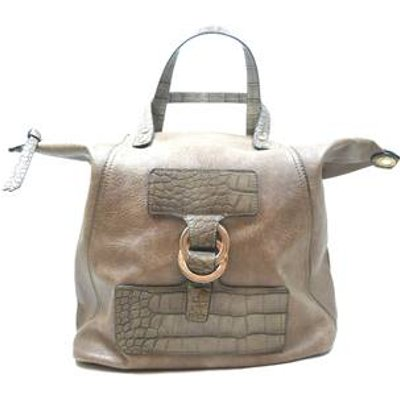 L.Credi Beige Snakeskin Pattern  Oversized Shopper Bag