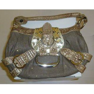 Tara Nicolson Glittery Gold & Beige Faux Crocodile Skin Handbag Tara Nicolson - Size: S - Metallics
